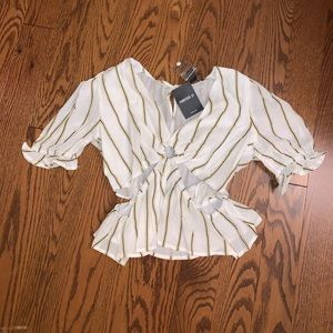 Brand NWT Forever 21 White Striped Cutout Top